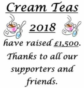 Cream Teas Amount Raised