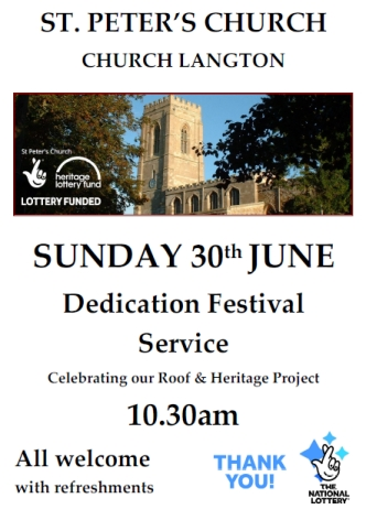 Poster for the Dedication Service June 2019