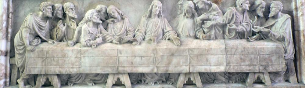 Last Supper-Reredo carving by J Reid at St Peter's Church
