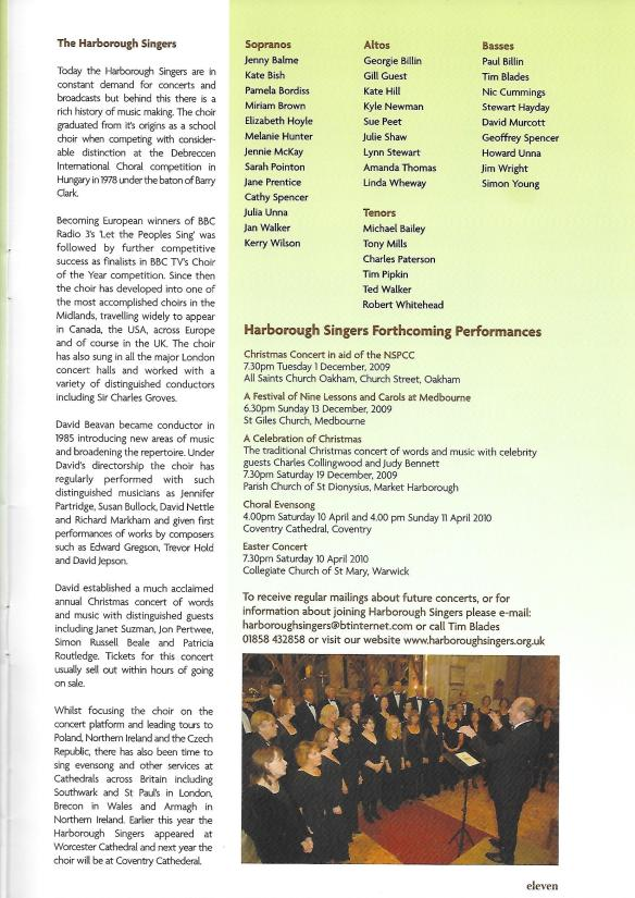 250th Anniversary programme - Handel's Messiah at Church Langton, 2009, Inside page