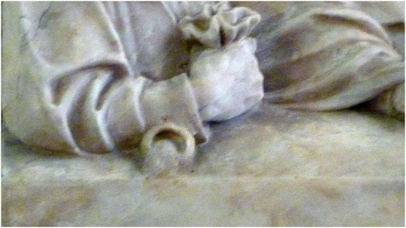 St Peter's Church, Reredos: Last Supper, J Reid, Detail - Judas' hand - after Leonardo Da Vinci