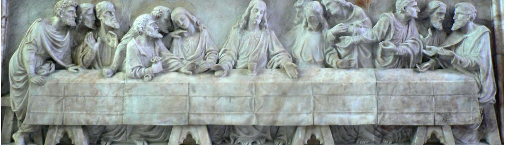 St Peter's Church, Reredos: Last Supper, J Reid, after Leonardo Da Vinci