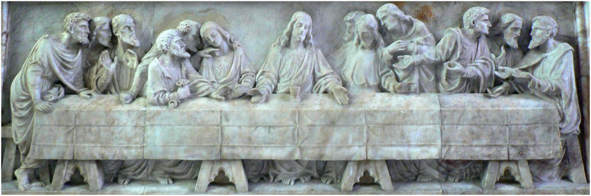 St Peter's Church, Reredos: Last Supper, J Reid, after Leonardo Da Vinci