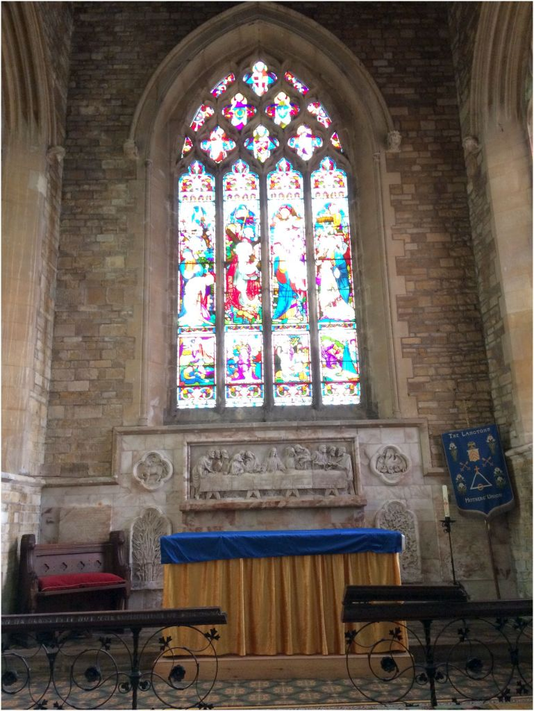 St Peter's Church Langton: East Window and High Altar with reredos