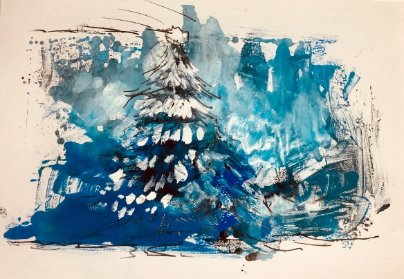 Imagined Winter trees, mono print, Maxine Dodd