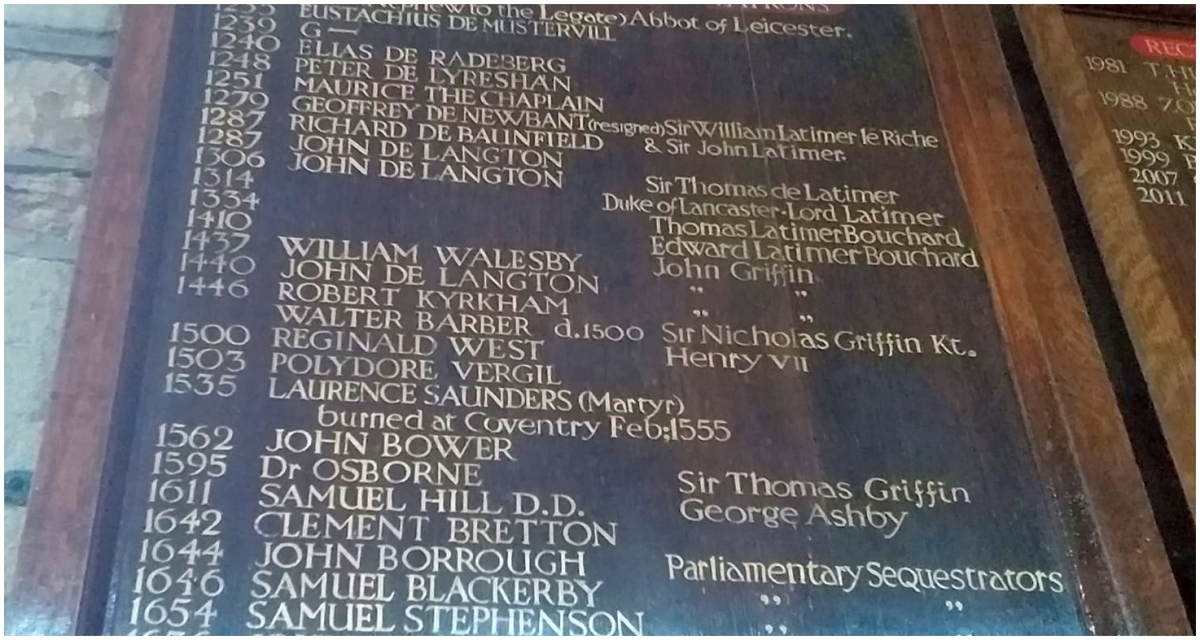 St Peter's Church - Vicar Board - larger view, including Laurence Saunders dates of service