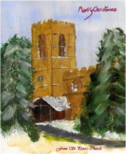 Merry Christmas! Painting of St Peter's Church by Tony Spencer